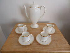WEDGWOOD CALIFORNIA COFFEE POT, 4 COFFEE CANS & SAUCERS - BONE CHINA