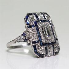 Men Retro Jewelry Art Deco Style Silver Zircon & Sapphire Cocktail Ring size 8