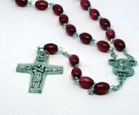 ROSENKRANZ Rot Taufe Kommunion KREUZ Kette MARIA Jesus GOTT HALSKETTE