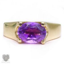 Vintage solid 9k gold vivid natural amethyst ring stunning!
