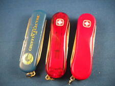 LOT (3) three Wenger ESQUIRE & EVO evogrip 81 Swiss Army Knife Red & Blue