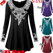 c976528d Women's Loose Long Sleeve Plain Casual Blouse Shirt Tunic Tops Fashion  Blouse US