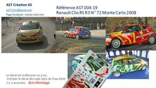NEW DECAL 1 43 RENAULT CLIO RS N°72 PINTARELLI RALLY WRC MONTE CARLO 2008