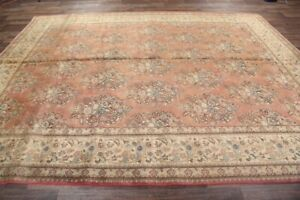 Antique Muted All-Over Floral LIGHT RUST Distressed Area Rug Hand-Knotted 10x13