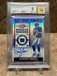 Daniel Jones 2019 Optic Contenders Rookie Ticket Auto RC BGS 9/10 Giants