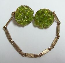 Vintage Sweater Guard Clips - Lime Green Glass Clusters