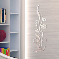 KE_ Flower Vine Mirror Wall Sticker Bedroom TV Background Decal Home Decor Nov