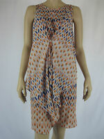 Piper Ladies Fashion Sleeveless Dress size 16 Colour Orange Blue Print