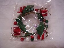 3 IN RED WHITE & GREEN PRESENTS & BERRIES CANDLE RING SPRING WEDDINGS DECORATION