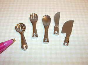Miniature Silver Metal CHEF'S Utensils, SET of 5: DOLLHOUSE 1:12 (1/6?) Scale