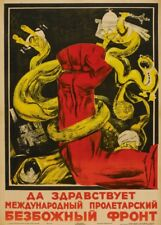 "Russian Propaganda Poster ""LONG LIVE THE PROLETARIAN ANTI-RELIGIOUS FRONT"""