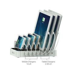 Multiple Device Desk Charging Station 7 USB Tablet Phone Organizer Universal New