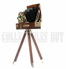Vintage Decorative Tripod Camera Antique Brown Small Cam With Wooden stand Gift