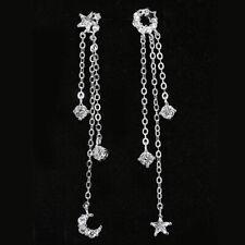 925 Sterling Silver CZ Asymmetric Star Moon Tassel Cascade Drop Dangle Earrings