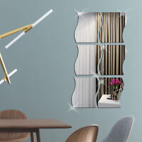 6pcs Waves Shape 3D Mirror Wall Stickers Decal Bedroom Home Decor Self-adhesive
