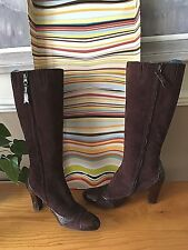 Paul Smith Emma dark brown patent leather suede knee length boots UK 7 EU 40