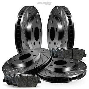 Full Kit Black Drilled Slotted Brake Rotors and Brake Pads For 2011-2014 BMW X3