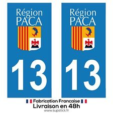 2 STICKERS AUTOCOLLANT PLAQUE IMMATRICULATION DEPT 13 Provence-Alpes-Côte d'Azur
