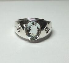 Brand New Sterling Silver Genuine 10mm x 8mm Aquamarine & Diamond Man's Ring
