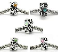 10 Mixed Silver Tibetan Crystal Flower Spacer Beads Fits European Charm Bracelet