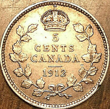1912 CANADA SILVER 5 CENTS COIN - Fantastic example!