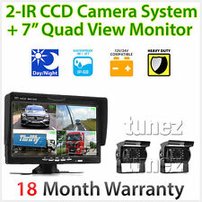 "7"" Split screen Monitor 24V 12V 2 CCD Reversing Camera 4PIN System Kit Caravan"