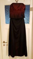 Festkleid 2-tlg lang mit Korsage trägerlos bordeaux-schwarz changierend Gr 38