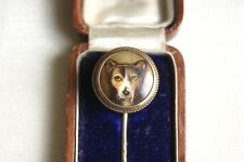 RARE VICTORIAN 15 CT GOLD WILLIAM ESSEX ENAMEL DOG STICK PIN SIGNED & DATED 1863