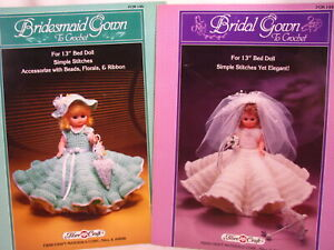 "Bride Bridesmaid Gown 13"" Bed Doll Clothes Crochet Patterns Fibre Craft 144 146"