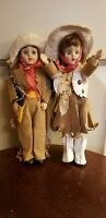 VINTAGE HARD PLASTIC BOY & GIRL COWBOY COWGIRL DOLLS great condition! 7 1/2""