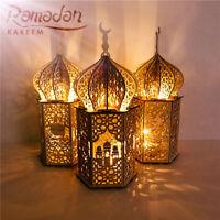 Muslim Happy Eid Mubarak Lights Wooden Festival Lantern Ramadan Decor Home