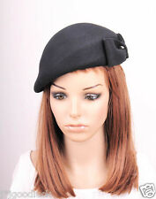 JM60 Elegant Bow 100% Wool Women's Winter Church Tea Dress Hat Cap Fedora BLACK