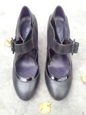 Women's Ankle Black Leather Shoes Size 37 By The Jackson Twins Made In Spain