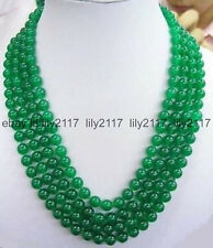round gems bead necklace 17-20 Inches Genuine Natural 4 rows 8Mm green jade