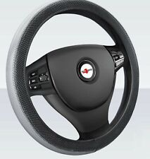 For Kia Hyundai Soft Grip Grey / Black Leather Effect Car Steering Wheel Cover