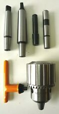 "5/8"" Shop Fox HD Keyed Drill Chuck + MT2 MT3 1/2"" 5/8"" Straight Shank Arbor New"