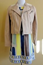 NWT Women's Maje Leather Moto Nude/Rose Poudre Jacket E15VICKY in size 38 (M,T2)