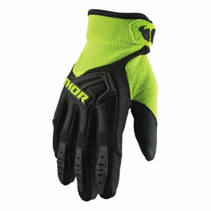 Thor Spectrum Youth Motorcycle Textile Off Road Gloves Black / Fluo Green