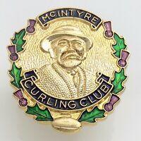 McIntyre Curling Club Birks Man Smoking Pipe Enamelled Pin 8.1g 1in J526