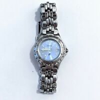 Vintage Fossil Womens Blue AM 3547 Stainless Steel Band Blue Dial Watch