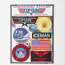 "TOP GUN ""ICEMAN"" FANCY DRESS Patches - Iron-On Patch Mega Set #065 - FREE POST"