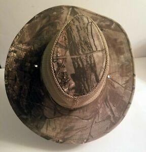 Vintage Camo Redhead Hat - Safari Hunting Hat Full Wide Snap-Brim Size Small