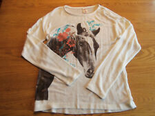ARIZONA GIRLS HORSE SWEATER IVORY SOFT AND COMFORTABLE SIZE XL 16 EUC
