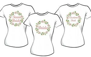 HEN DO  BRIDE BRIDESMAID FLOWER GIRL HEN PARTY  IRON ON T-SHIRT TRANSFER