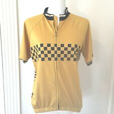 Pactimo Cycling Wind Jacket Size Large Gold Black Zip up Short sleeve
