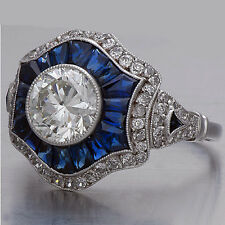 fa65c673f87b 2.60Ct Round Cut Diamond and Sapphire Vintage Art Deco Engagement Ring  925Silver