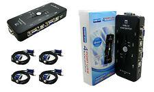 KVM SWITCH Conmutador de 4 Puertos 4 PCs VGA SVGA USB Monitor Teclado Raton 4019