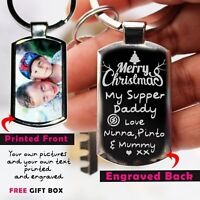 Personalised  Photo Printed, Engraved Keyring,Keychain Xmas Gift Free Gift Box ❤