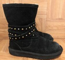CUTE!❤️ UGG Australia Kid's Clovis Boots Black Suede Studded Side Zip 3287 Sz 2