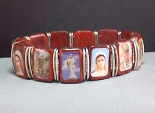 Christian Prayer Bracelet ROSEWOOD Silver Tone Accents SAINTS Holy Images COLOR